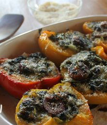 Sausage Stuffed Peppers with spinach and cheese