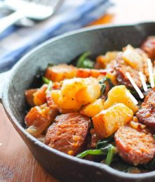 Kielbasa Potato Skillet recipe from Wellshire Blog